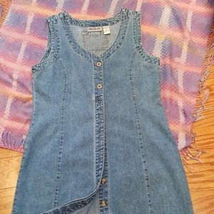 DENIM DRESS Button-down Front, Sleeveless - M